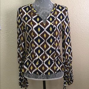 NEW! Tory Burch 100% Silk Gathered Sleeve Blouse